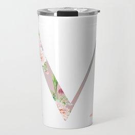 M - Floral Monogram Collection Travel Mug