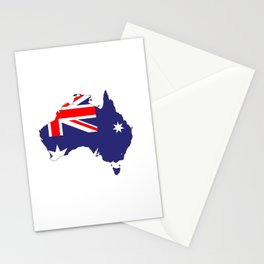 Australia Flag Map Stationery Cards
