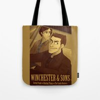 winchester Tote Bags featuring Winchester & Sons by The Art of Nicole