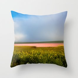 Land of Plenty- Field of Pink and Yellow Flowers in Nebraska Throw Pillow