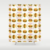 burger Shower Curtains featuring Burger Burger by Brianne Burnell