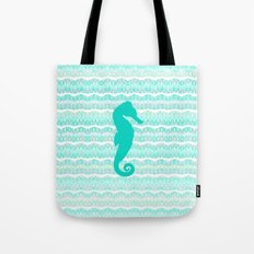 Mint Seahorse Tote Bag