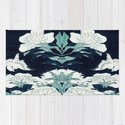 JAPANESE FLOWERS Midnight Blue Teal by purelove