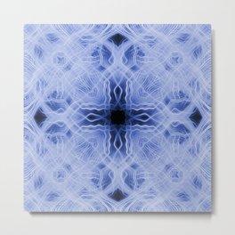 Blue cross light trails pattern Metal Print