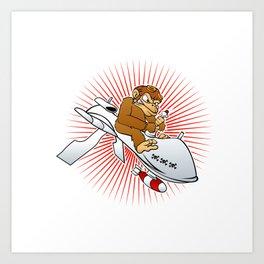 monkey on a drone cartoon Art Print