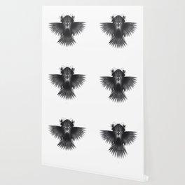 Strange Hummingbird 1.Black on white background. Wallpaper