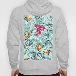 Bird of Paradise Greenery Aloha Hawaiian Prints Tropical Leaves Floral Pattern Hoody