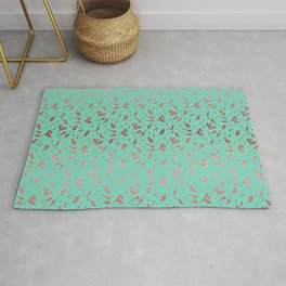 Ombre Rose Gold Metallic Foil Animal Spots on Aqua Blue Rug
