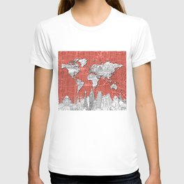 world map city skyline 9 T-shirt