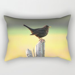 Blackbird on a Wooden Post Rectangular Pillow