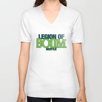seahawks V-neck T-shirts featuring LEGION OF BOOM by FanCity