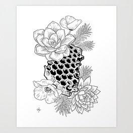 Succulents & Honeycomb Art Print