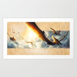 Pterodactyl Coming Back to Life Art Print