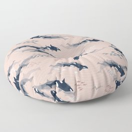 Orca in Motion / blush ocean pattern Floor Pillow
