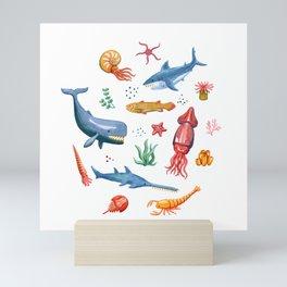 Prehistoric Ocean Critters Mini Art Print