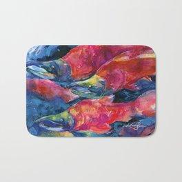 Sockeye Salmon Watercolor Painting Bath Mat