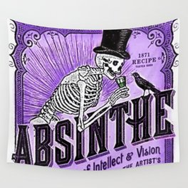 Vintage 1871 Purple Absinthe Liquor Skeleton Elixir Aperitif Cocktail Alcohol Advertisement Poster Wall Tapestry