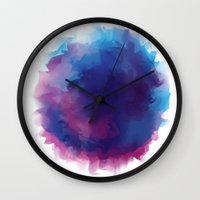 watercolour Wall Clocks featuring watercolour by HelloDarlingDesign