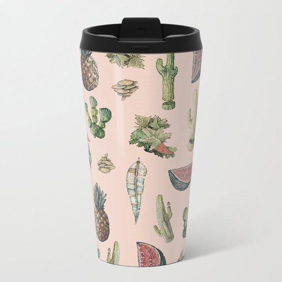 cactus, pinneaples and mushrooms Metal Travel Mug