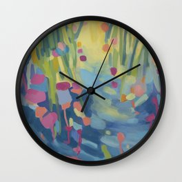 Colorful Abstract Landscape, Wading  Wall Clock
