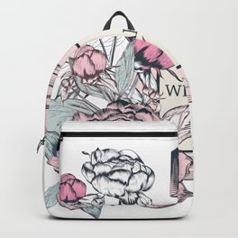 Fashion illustration with perfume bottle and peony flowers Backpack