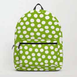 White Polka Dots on Fresh Spring Green - Mix & Match with Simplicty of life Backpack