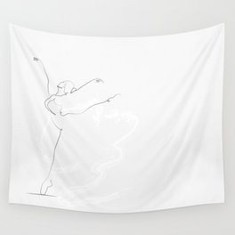 'Essence', Dancer Line Drawing  Wall Tapestry