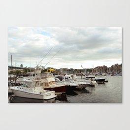 Yachts at bay Canvas Print