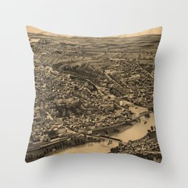 Vintage Sherbrooke Queubec Canada Map (1881) Throw Pillow