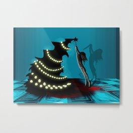 BLACK XMAS: Decorating the Christmas Tree Metal Print
