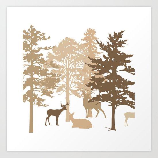 Morning Deer In The Woods No. 2 Art Print