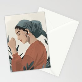 Serene and scarf Stationery Cards