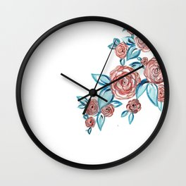 Navy & Blush Floral Wall Clock