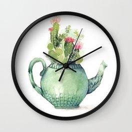 Teapot cacti Wall Clock