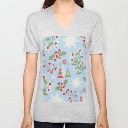 Modern Holiday Pattern of Geometric Christmas Trees Stars Snowflakes Holly and Flowers Unisex V-Neck