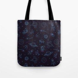 Blue Space Pattern Tote Bag