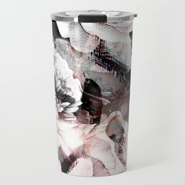 flowers - roses and black marble Travel Mug
