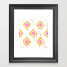 Simple, Painterly Ikat With Pink, Light and Dark Orange Framed Art Print