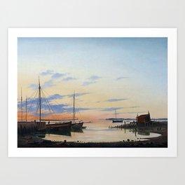 Anton Melbye 1818-1875 Copenhague Hambourg... Paris View of the Harbour. Summer evening. Art Print