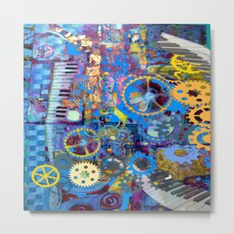 SURREAL BLUE STEAMPUNK ELECTRONIC PIANO ART Metal Print