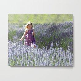 Girl in a Field of Lavender Metal Print