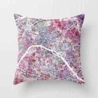 paris map Throw Pillows featuring Paris Map by MapMapMaps.Watercolors