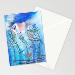 Aqua Girl Stationery Cards