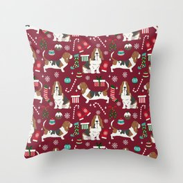 Basset Hound christmas pattern christmas dog breed pet friendly gifts Throw Pillow