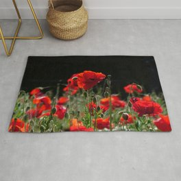Red Poppies in bright sunlight Rug