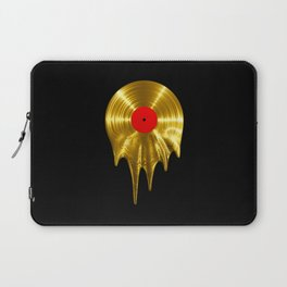 Melting vinyl GOLD / 3D render of gold vinyl record melting Laptop Sleeve