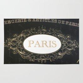 Paris Black White Gold Typography Home Decor Rug