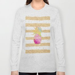 Modern pink watercolor pineapple faux gold glitter stripes Long Sleeve T-shirt