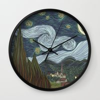 starry night Wall Clocks featuring starry night by Justin McElroy