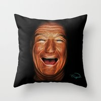 robin williams Throw Pillows featuring Robin Williams Abstracto by Tazmatic